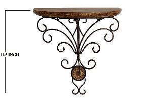 Wooden Single Piece Folding Wall Bracket with Iron Base