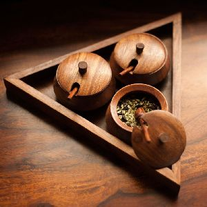 Wooden Spice 3 Container and Tray Set