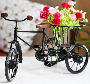 Wrought Iron Small Miniature Flower Rickshaw