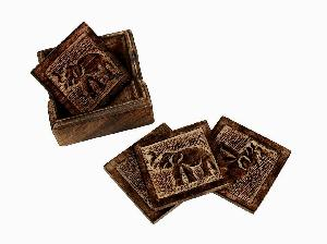 Wooden Tea Coaster Set 02