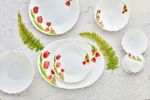 Cello Red Bloom Dinner Set
