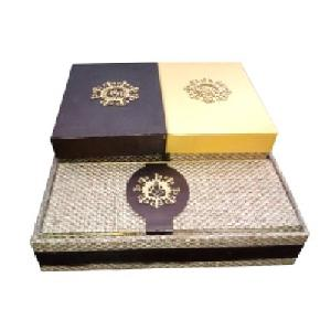 Blue & Golden Jute Wedding Invitation Box