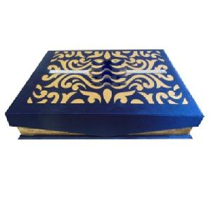 Blue Satin Wedding Invitation Box