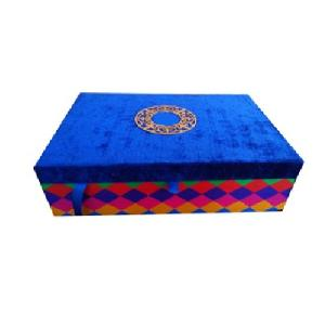 Blue Velvet Wedding Invitation Box