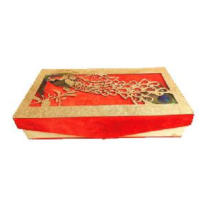 Peacock Printed Wedding Invitation Box