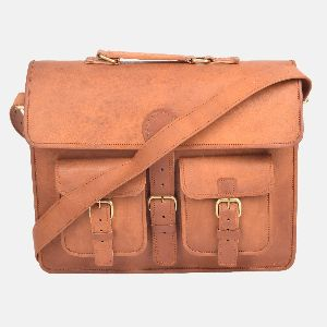 "15"" Handmade Vintage Leather Laptop Briefcase"