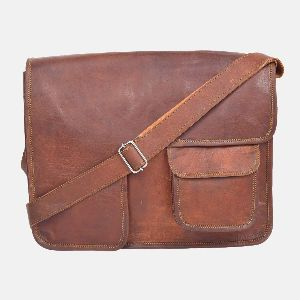 "15"" Handmade Vintage Leather Messenger Bag"