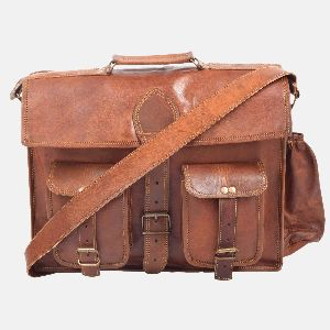 "15"" Leather Laptop Satchel For Men And For Women"