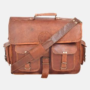 "15"" Leather Laptop Satchel With Front Pockets"