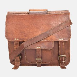"15"" Vintage Leather Backpack And Laptop Briefcase"