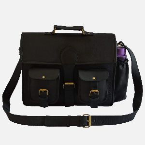 "16"" Black Leather Laptop Bag With Bottle Pocket"