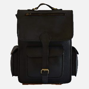 "16"" Black Leather Rucksack For Men And Women"