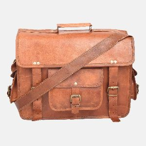 "16"" Leather Briefcase And Laptop Satchel"