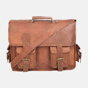 "16"" Mens & Womens Handmade Leather Satchel Bayley"
