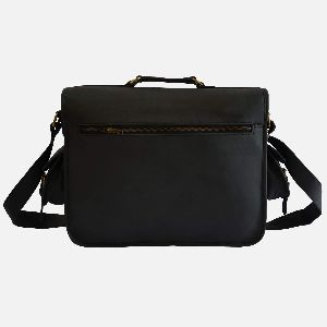 "16"" Tough Black Leather Laptop Or Camera Bag"