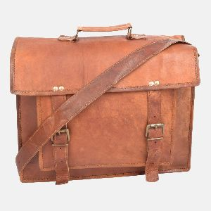 "17"" Large Handmade Leather Laptop Bag"