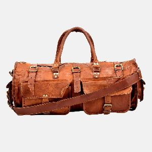 "22"" Vintage Leather Travel , Weekend Bag"