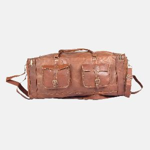 "24"" Medium Sized Handmade Leather Travel Bag"