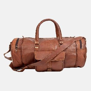 "25"" Vintage Leather Travel And Weekend Bag"