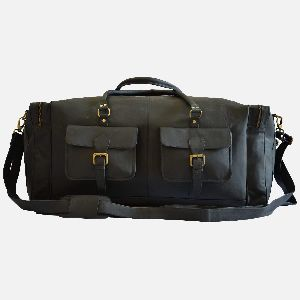 "28"" Large Black Leather Travel Bag"