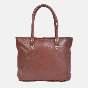 Ladies Leather Handmade Tote Bag With Zip Top Brannigan 01