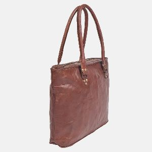 Ladies Leather Handmade Tote Bag With Zip Top Brannigan 02