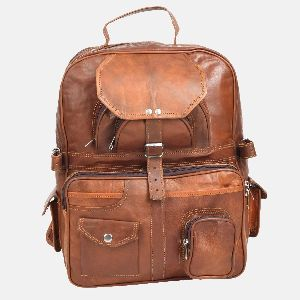 Large Leather Rucksack With Pockets