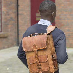 Mens And Womens Handmade Leather Rucksack Bellinger 06