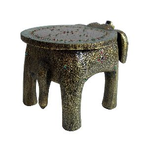 8 Inches Wooden Elephant Stool