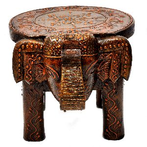 Hand Painted Wooden Elephant Stool