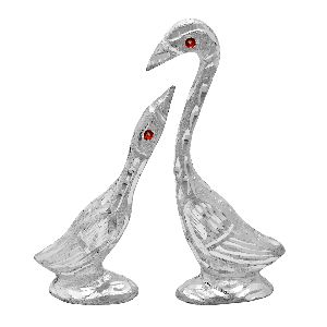 Handmade Decorative Silver Swan Statue