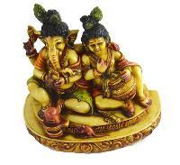 Handmade Hand Painted Resin Baby Krishna & Ganesha Statue