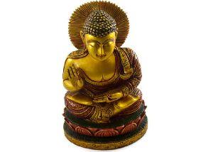 Handmade Kadam Wood Gold Work Buddha Statue