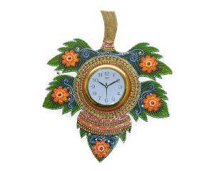Handmade Wooden Leaves Shaped Wall Clock
