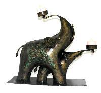 Iron Elephant Candle Holder
