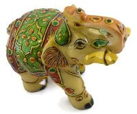 SKU-EIIM306 Handmade Marble Miniature Painted Elephant Statue