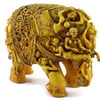 SKU-EIIR0032 Handmade Antique Resin Elephant Statue 01