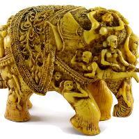 SKU-EIIR0032 Handmade Antique Resin Elephant Statue 05