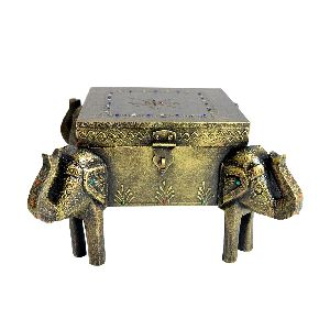 Wooden Antique Handcrafted Elephant Shaped Dry Fruit Boxes