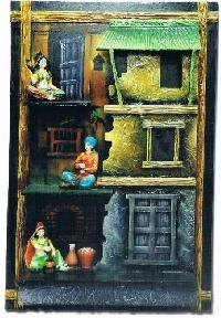 Indian Art Village Scene Frame