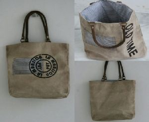 PH069 Canvas Mix Leather Tote Bag