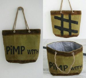 PH070 Canvas Mix Leather Tote Bag