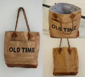 PH073 Canvas Mix Leather Tote Bag