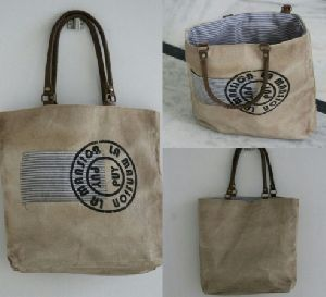 PH075 Canvas Mix Leather Tote Bag
