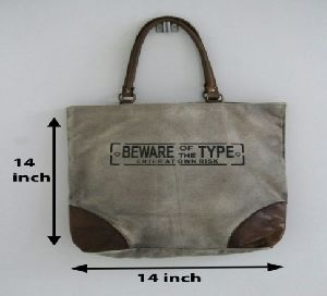 PH076 Canvas Mix Leather Tote Bag