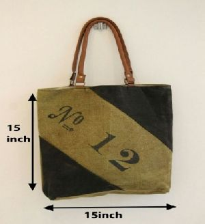 PH078 Canvas Mix Leather Tote Bag