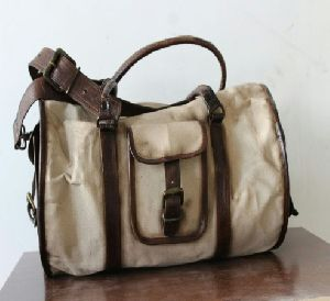 PH088 Canvas Mix Leather Duffle Bag