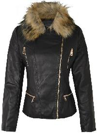 Ladies Black Fur Collar Leather Jackets