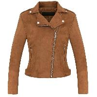Ladies Brown Suede Leather Fashion Jackets