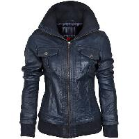 Ladies Navy Blue Fashion Leather Jackets